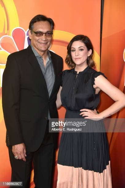 Jimmy Smits and Caitlin McGee attend the 2019 TCA NBC Press Tour Carpet at The Beverly Hilton Hotel on August 08 2019 in Beverly Hills California