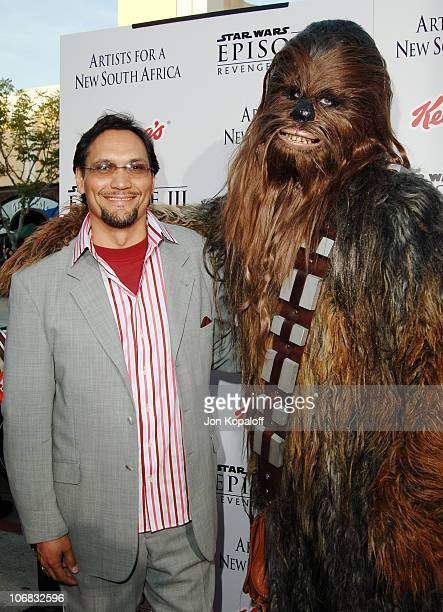 Jimmy Smits and Chewbacca during 'Star Wars Episode III Revenge of The Sith' Premiere to Benefit Artists for a New South Africa Charity Arrivals at...
