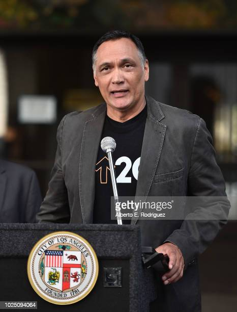 Jimmy Smits attends a ceremony Proclaiming September 7 2018 as official Step Up To Cancer Day In Los Angeles at Los Angeles City Hall on August 29...