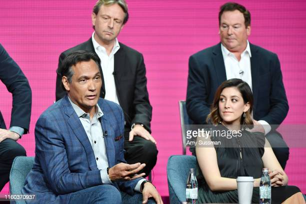 Jimmy Smits Caitlin McGee Dean Georgaris and David Janollari of Bluff City Law speak during the NBC segment of the 2019 Summer TCA Press Tour at The...