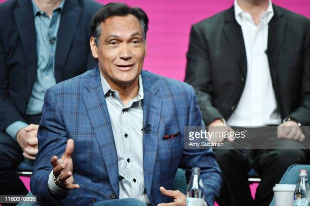 Jimmy Smits of Bluff City Law speaks during the NBC segment of the 2019 Summer TCA Press Tour at The Beverly Hilton Hotel on August 8 2019 in Beverly...