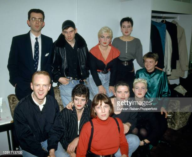 Jimmy Somerville and Richard Coles of British pop duo The Communards with some of their backing singers and bandmembers, including Sally Herbert and...