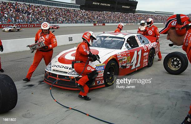Jimmy Spencer driver of the Ganassi Racing Dodge Intrepid R/T during the NASCAR Winston Cup Pop Secret Microwave Popcorn 400 on November 3 2002 at...
