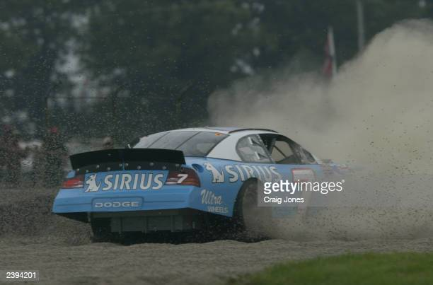 Jimmy Spencer, driver of the Sirius Satellite Dodge Intrepid, loses control of his car during practice for the Sirius at The Glen Winston Cup Race on...