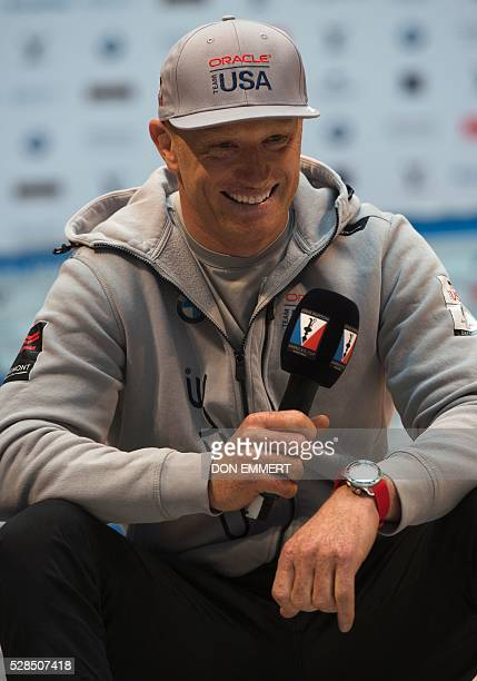 Jimmy Spithill skipper and helmsman for Oracle Team USA answers questions at the Skippers news conference for the Louis Vuitton America's Cup World...