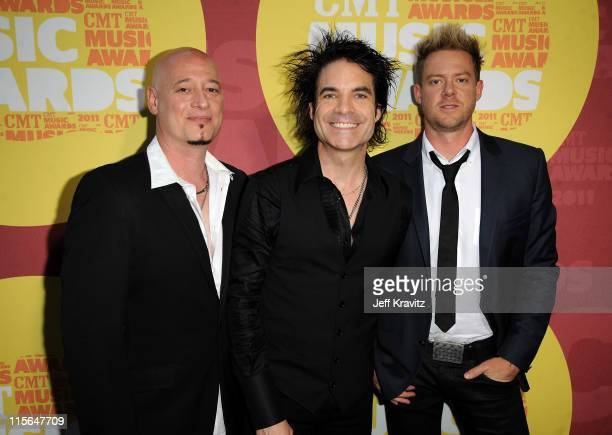 Jimmy Stafford Pat Monahan and Scott Underwood attend the 2011 CMT Music Awards at the Bridgestone Arena on June 8 2011 in Nashville Tennessee