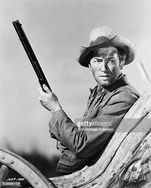 Jimmy Stewart enacts his leading role as Lin McAdams in Universal International's western saga Winchester 73 which tells the story of a prized one in...