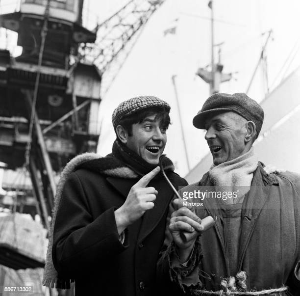 Jimmy Tarbuck enjoys a day out in Liverpool He is pictured meeting Bernard Taylor who works at the Docks 7th February 1965
