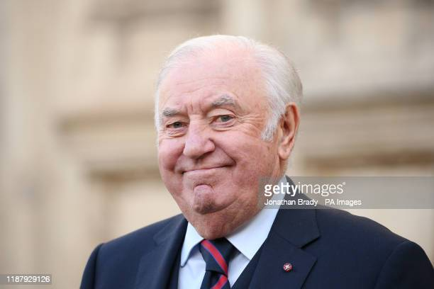 Jimmy Tarbuck leaving Westminster Abbey in London following a service of thanksgiving for the life and work of Sir Donald Gosling