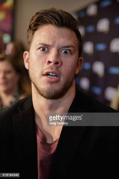 Jimmy Tatro on the red carpet for the new movie Natural Born Pranksters at Regal LA Live Stadium 14 on March 29 2016 in Los Angeles California