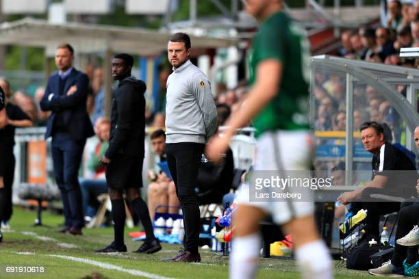 Jimmy Thelin head coach during the Allsvenskan match between Jonkopings Sodra IF and Malmo FF at Stadsparksvallen on June 3 2017 in Jonkoping Sweden