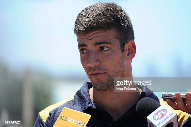 Jimmy Toumpas speaks to the media prior to the AFL draft at Burleigh Beach Surf Life Saving Club on November 21 2012 on the Gold Coast Australia