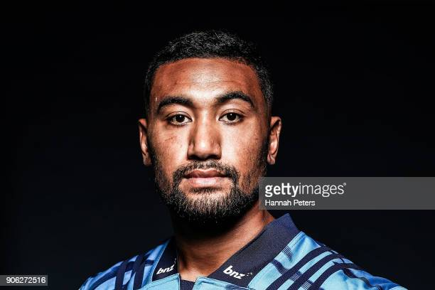 Jimmy Tupou poses during the Blues Super Rugby headshots session at Blues HQ on January 17 2018 in Auckland New Zealand