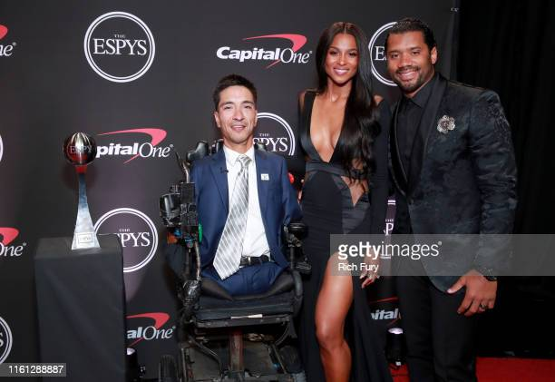 2019 Jimmy V Award for Perseverance recipient Rob Mendez Ciara and Russell Wilson attend The 2019 ESPYs at Microsoft Theater on July 10 2019 in Los...