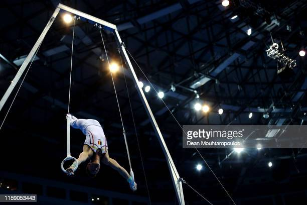 Jimmy Verbaeys of Belgium competes on the Rings during the Artistic Gymnastics Men's All-Around Finals event during Day nine of the 2nd European...
