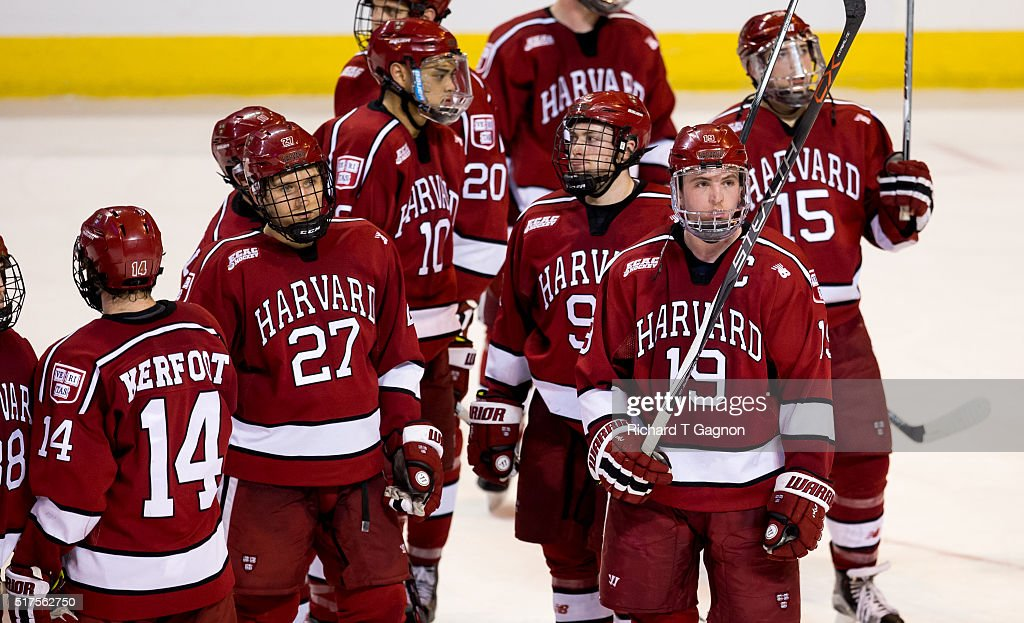 Jimmy Vesey #19 of the Harvard Crimson signals to the crowd after a game against the Boston College Eagles during game two of the NCAA Division I Men's Ice Hockey Northeast Regional Championship Semifinals at the DCU Center on March 25, 2016 in Worcester, Massachusetts. The Eagles won 4-1.