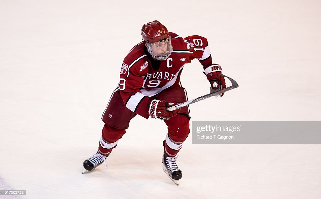 Jimmy Vesey #19 of the Harvard Crimson skates against the Boston College Eagles during game two of the NCAA Division I Men's Ice Hockey Northeast Regional Championship Semifinals at the DCU Center on March 25, 2016 in Worcester, Massachusetts. The Eagles won 4-1.