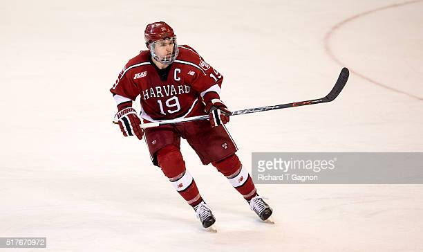 Jimmy Vesey of the Harvard Crimson skates against the Boston College Eagles during game two of the NCAA Division I Men's Ice Hockey Northeast...