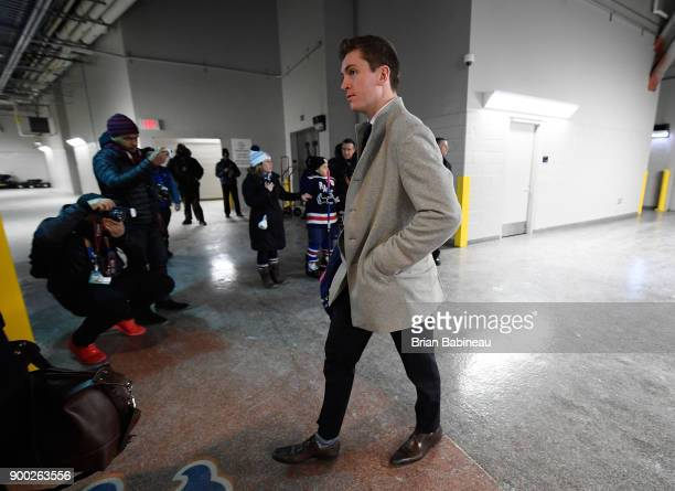 Jimmy Vesey of the New York Rangers arrives for the 2018 Bridgestone NHL Winter Classic between the New York Rangers and the Buffalo Sabres at Citi...