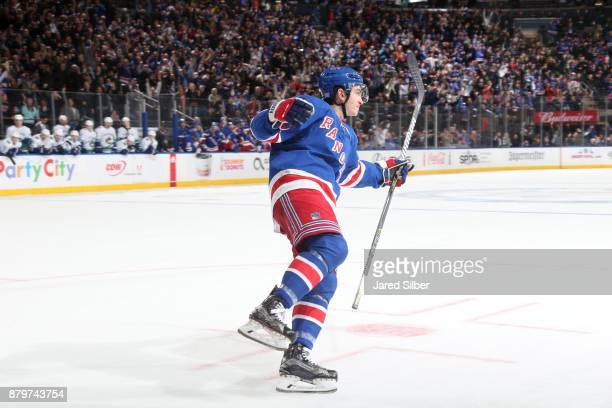 Jimmy Vesey of the New York Rangers celebrates after scoring the game winning goal in the shootout against the Vancouver Canucks at Madison Square...