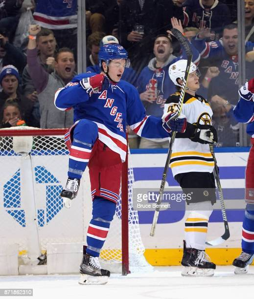 Jimmy Vesey of the New York Rangers celebrates his goal against Tuukka Rask of the Boston Bruins at 1441 of the first period at Madison Square Garden...