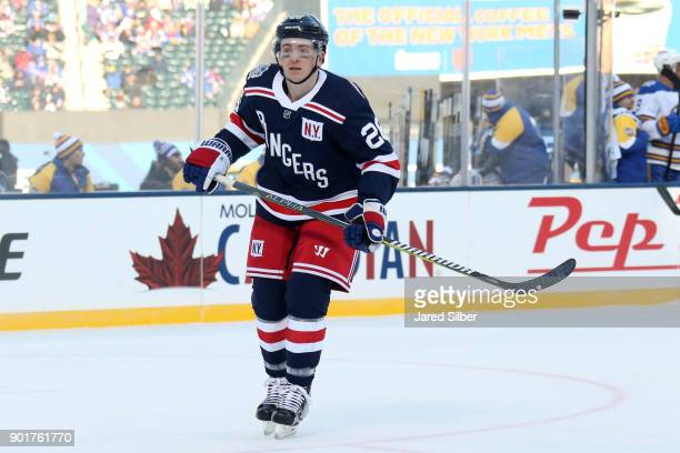 Jimmy Vesey of the New York Rangers skates against the Buffalo Sabres during the 2018 Bridgestone NHL Winter Classic at Citi Field on January 1 2018...