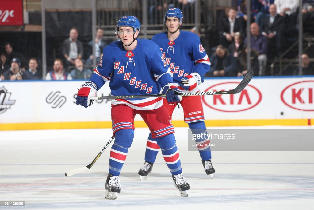 Jimmy Vesey #26 of the New York Rangers skates against the Carolina Hurricanes at Madison Square Garden on March 12, 2018 in New York City.