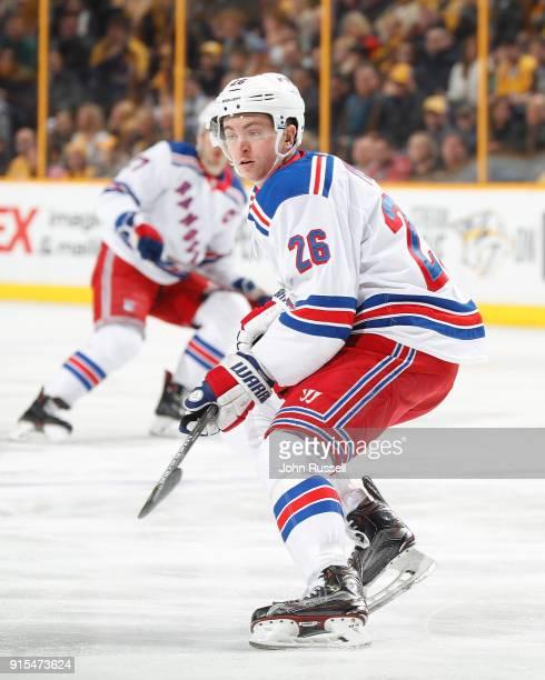 Jimmy Vesey of the New York Rangers skates against the Nashville Predators during an NHL game at Bridgestone Arena on February 3 2018 in Nashville...