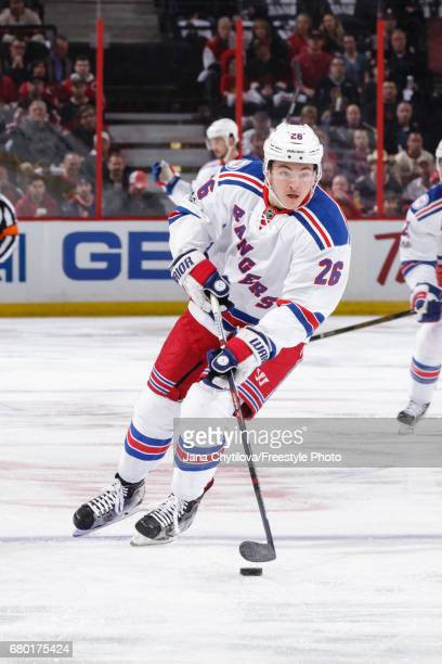 Jimmy Vesey of the New York Rangers skates with the puck against the Ottawa Senators in Game Five of the Eastern Conference Second Round during the...