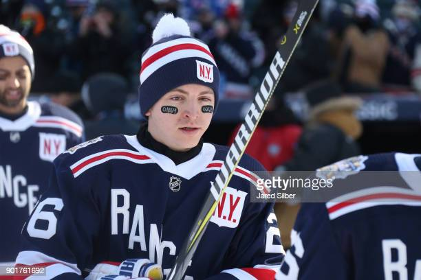 Jimmy Vesey of the New York Rangers walks to the ice prior to the game against the Buffalo Sabres during the 2018 Bridgestone NHL Winter Classic at...
