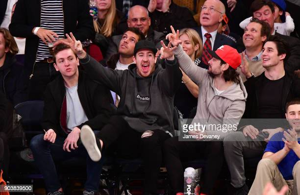 Jimmy Vessey Kevin Hayes Mats Zuccarello and Brady Skjei attend the New York Knicks Vs Chicago Bulls game at Madison Square Garden on January 10 2018...