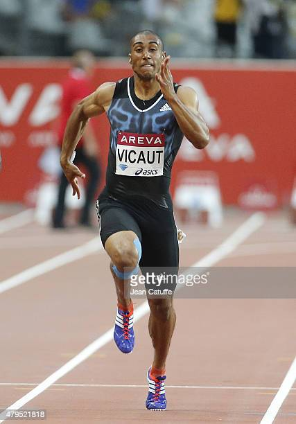 Jimmy Vicaut of France beats the french 100m record during the Meeting AREVA of the IAAF Diamond League 2015 held at Stade de France on July 4 2015...