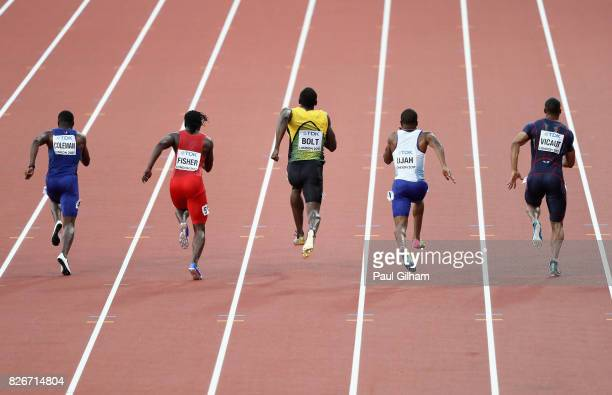 Jimmy Vicaut of France Chijindu Ujah of Great Britain Usain Bolt of Jamaica Andrew Fisher of Bahrain Christian Coleman of the United States and Amre...