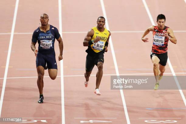 Jimmy Vicaut of France, Yohan Blake of Jamaica and Yoshihide Kiryu of Japan compete in the Men's 100 metres heats during day one of 17th IAAF World...