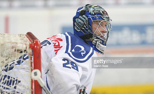 Jimmy Waite goalkeeper of Ingolstadt seen during the DEL Bundesliga game between Hanover Scorpions and ERC Ingolstadt at the TUI Arena on January 20...