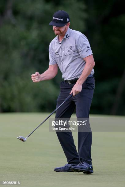 Jimmy Walker fist pumps after making birdie on during the final round of the 50th annual ATT Byron Nelson on May 20 2018 at Trinity Forest Golf Club...