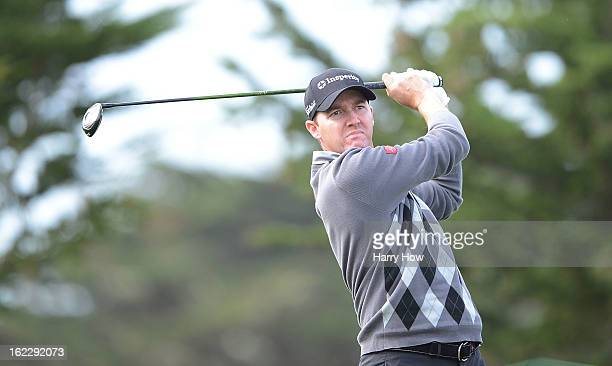 Jimmy Walker hits a shot during the first round of the ATT Pebble Beach National ProAm at the Monterey Peninsula Country Club on February 7 2013 in...