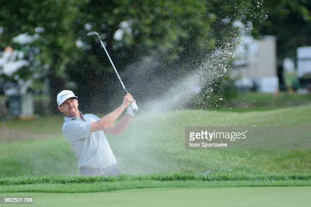 Jimmy Walker hits out of a bunker on the 17th hole during the Military Tribute at the Greenbrier Classic on July 05, 2018 in White Sulphur Springs,...