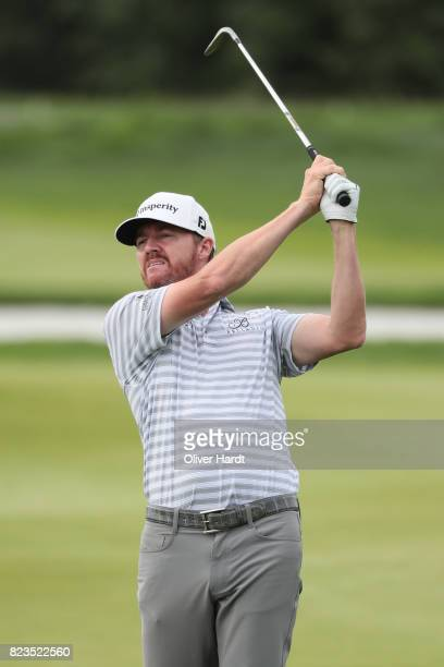 Jimmy Walker of Germany plays his first shot on the9th tee during the Porsche European Open Day One at Green Eagle Golf Course on July 27 2017 in...