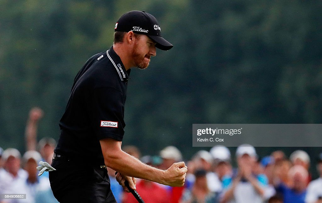 Jimmy Walker of the United States celebrates his eagle on the 17th hole during the final round of the 2016 PGA Championship at Baltusrol Golf Club on July 31, 2016 in Springfield, New Jersey.