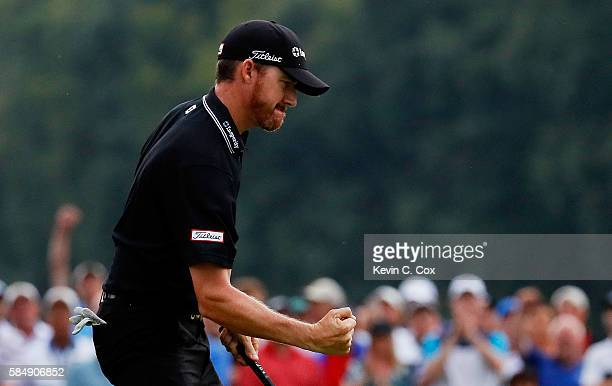 Jimmy Walker of the United States celebrates his eagle on the 17th hole during the final round of the 2016 PGA Championship at Baltusrol Golf Club on...