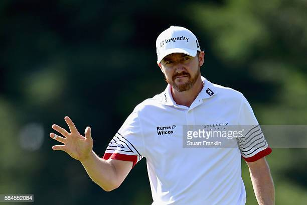 Jimmy Walker of the United States celebrates making a putt for birdie on the 12th hole during the second round of the 2016 PGA Championship at...