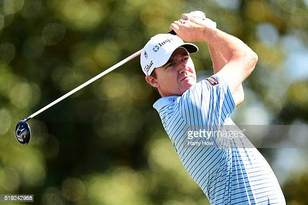 Jimmy Walker of the United States hits a tee shot during a practice round prior to the start of the 2016 Masters Tournament at Augusta National Golf...
