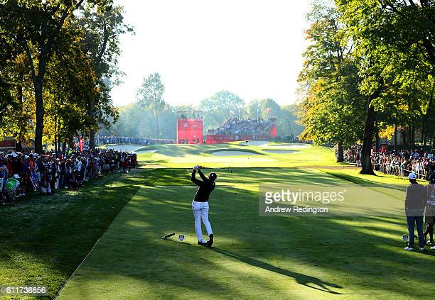 Jimmy Walker of the United States hits off the fourth tee during morning foursome matches of the 2016 Ryder Cup at Hazeltine National Golf Club on...