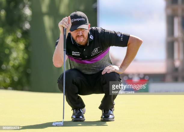 Jimmy Walker of the United States lines up his birdie putt on during the second round of the 50th anniversary AT&T Byron Nelson on May 18, 2018 at...
