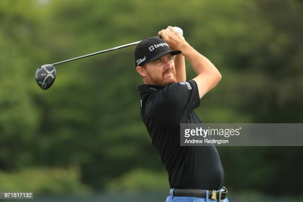 Jimmy Walker of the United States plays a shot during practice rounds prior to the 2018 US Open at Shinnecock Hills Golf Club on June 11 2018 in...