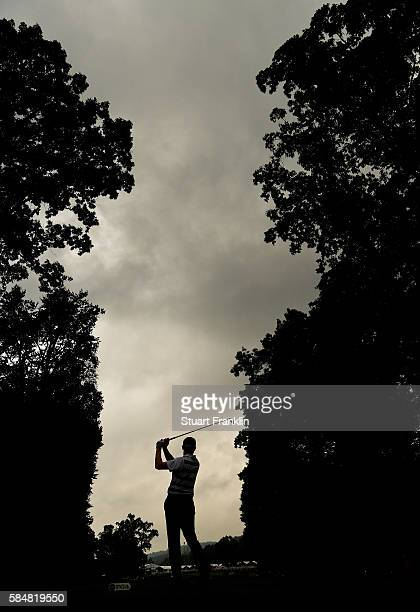 Jimmy Walker of the United States plays his shot from the fifth tee during the continuation of the weather delayed third round of the 2016 PGA...