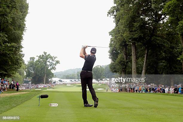 Jimmy Walker of the United States plays his shot from the fifth tee during the final round of the 2016 PGA Championship at Baltusrol Golf Club on...