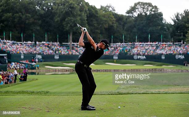 Jimmy Walker of the United States plays his shot from the fourth tee during the final round of the 2016 PGA Championship at Baltusrol Golf Club on...