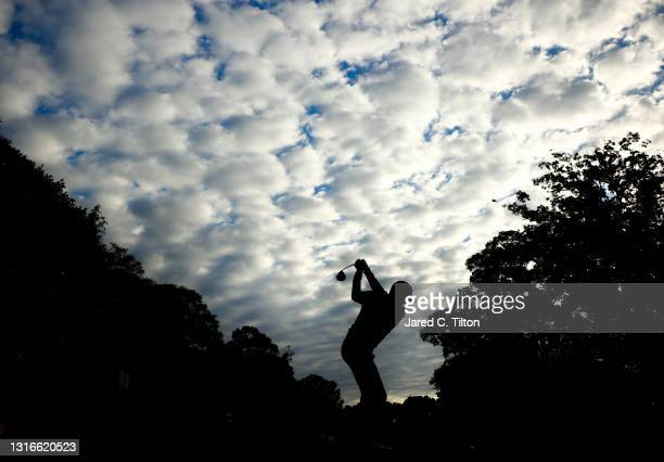 Jimmy Walker of the United States plays his shot from the second tee during the first round of the 2021 Wells Fargo Championship at Quail Hollow Club...